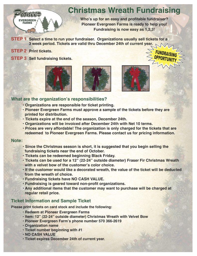 Christmas Fundraiser Flyer.Christmas Wreath Fundraising Pioneer Evergreen Farms